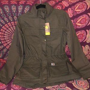 Woman's green Carhartt utility jacket